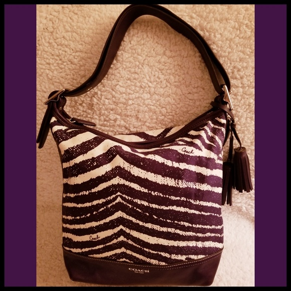 Coach Handbags - Coach*Rare Purple Zebra Hobo Purse